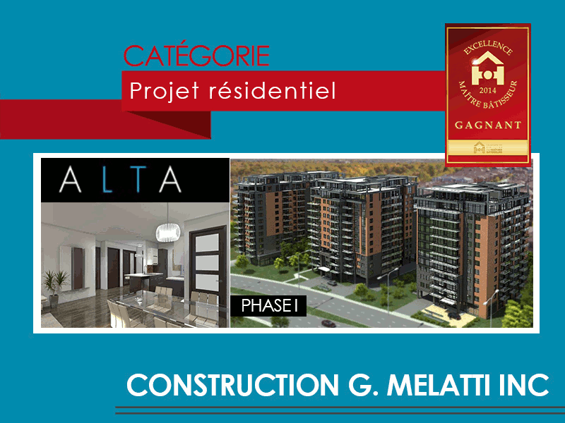 Tour Alta, the winner residential project of Prix Excellence Maître Bâtisseur 2014